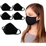 5-Pack Reusable & Washable Cloth Black Face Mask for Kids | Comfortable & Stretch Cotton | Kids Black Face Mask | For Age 7-1