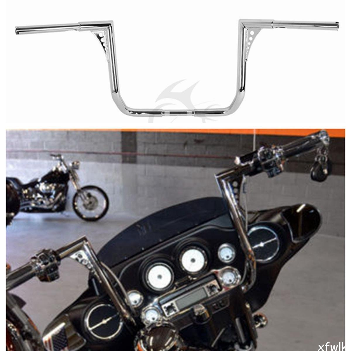 XFMT Chrome 16 Rise 1-1//4 Ape Hanger HandleBar Compatible with Harley Dressers Baggers Touring