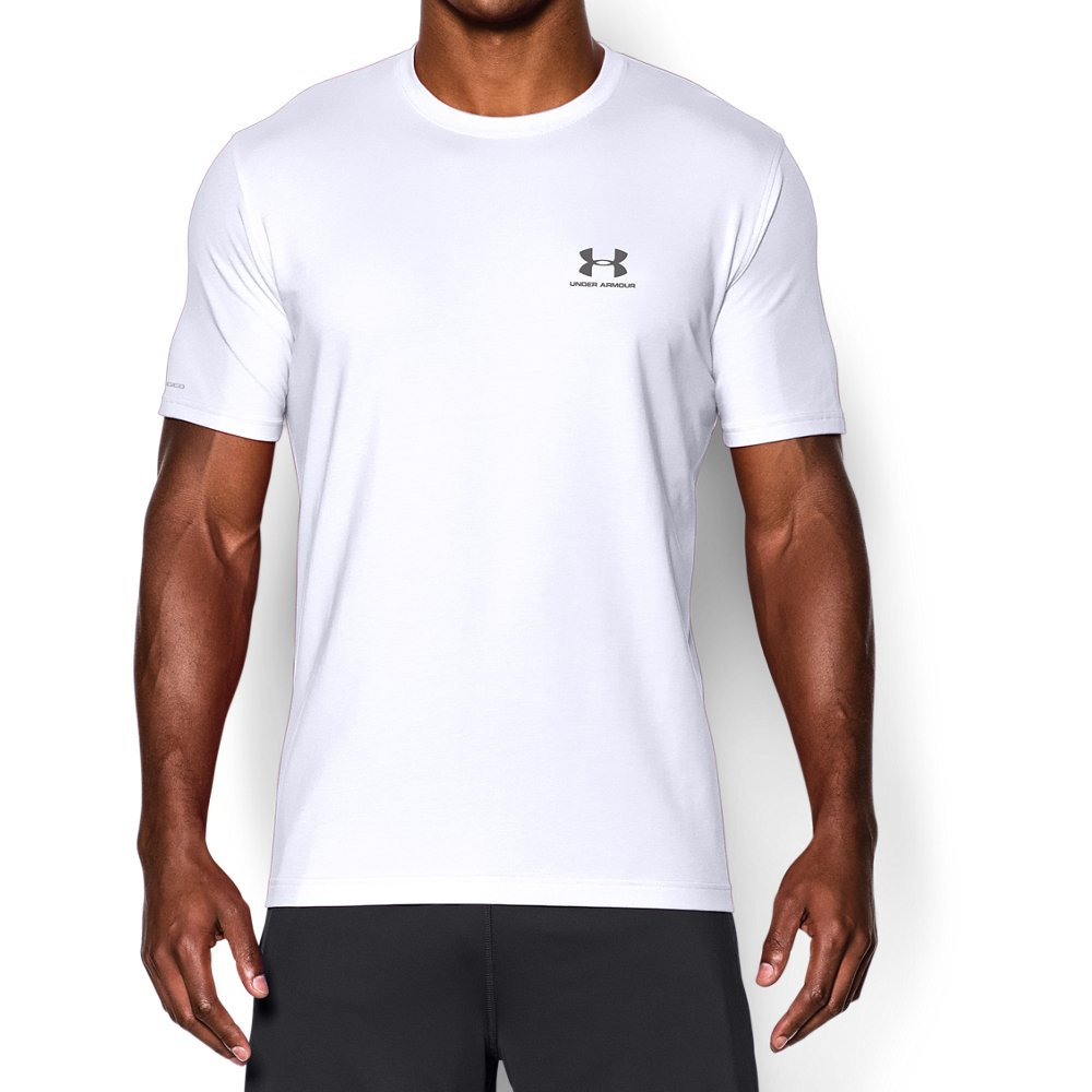 Under Armour Men's Charged Cotton Left Chest Lockup T-Shirt, White /Graphite, XXX-Large