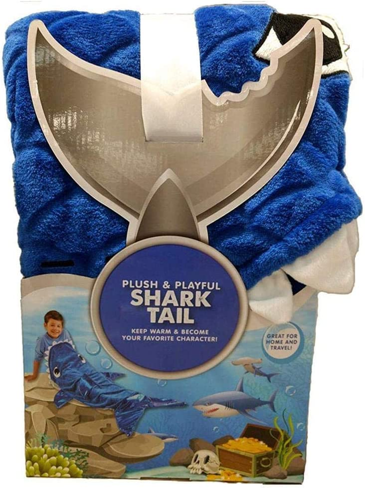 Plush and Playful Designs for Boys Plush and Playful Shark Tail Throw Blanket for Boys (Blue)
