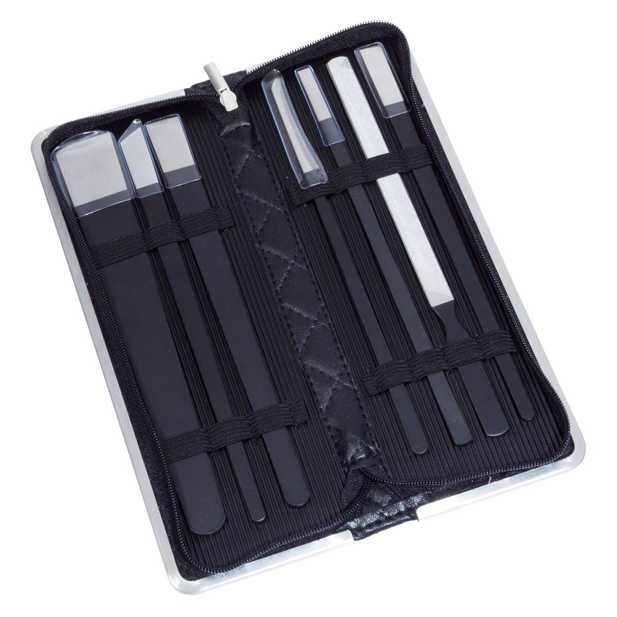 NKTM Professional Pedicure Knife Set - 7 Piece Stainless Steel Nail Care Kit with Leather Travel Case - Black by NKTM