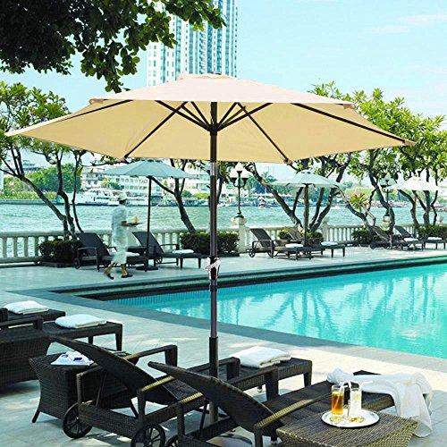 8' American Blue Green Pool (New Beige 8' ft Patio Umbrella Aluminum Crank Tilt Table Market Outdoor Yard Beach)