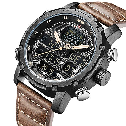 NAVIFORCE Sport Watch Digital Leather Analog Watches Waterproof Dual Time Military Casual Wristwatch