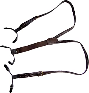 product image for HoldUp Brand Brown Braided Leather Suspenders in Double-up Style with black No-slip Clips