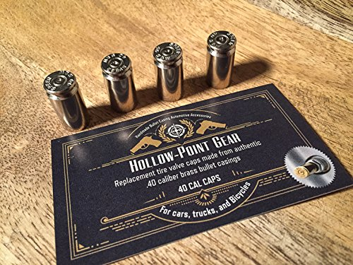 Hollow Point Gear Set of 5 Silver Bullet Tire Caps for Jeeps Set of 5 Recycled Brass .40 Caliber Once Fired Bullet Casing Car, Bike, Motorcycle, Truck, ATV Replacement Tire Valve Caps