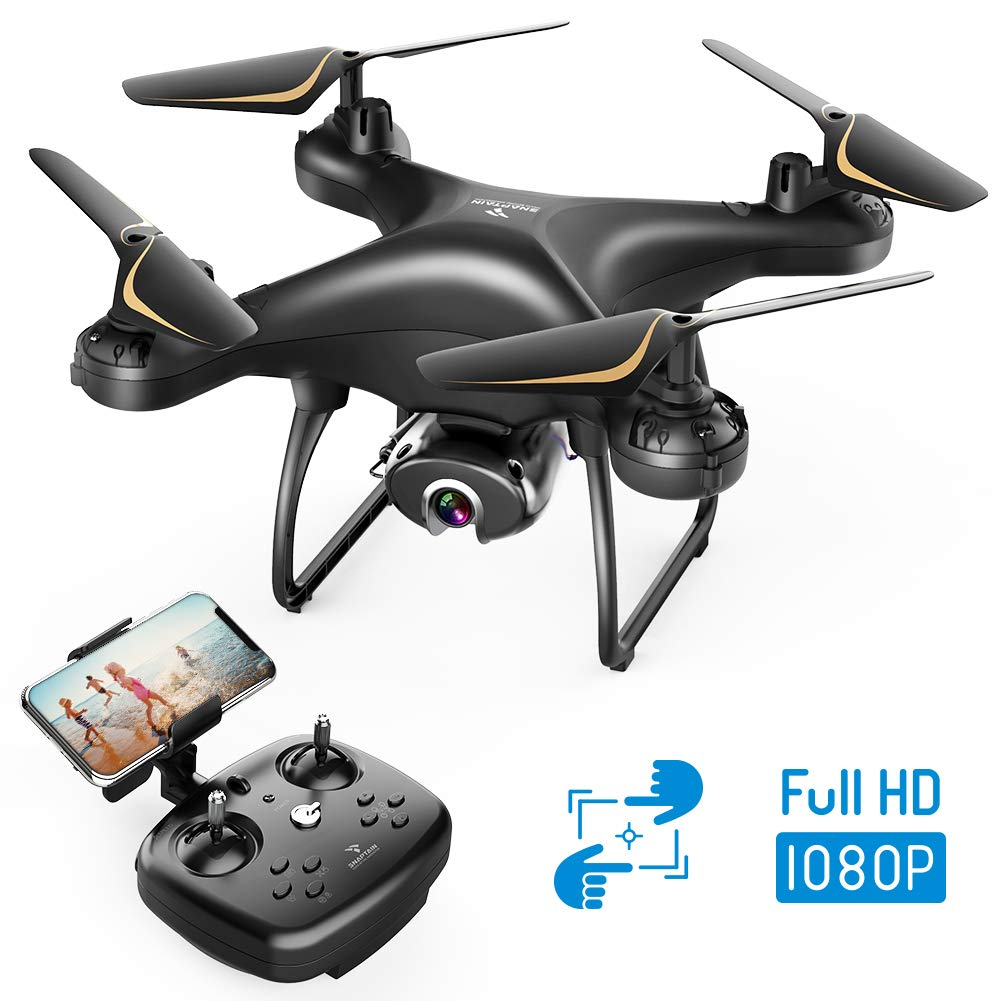 SNAPTAIN SP650 1080P Drone with Camera for Adults 1080P HD Live Video Camera Drone for Beginners w/Voice Control, Gesture Control, Circle Fly, High-Speed Rotation, Altitude Hold, Headless Mode by SNAPTAIN