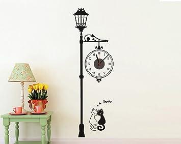 Wandsticker Uhr Wanduhr Wandaufkleber Mit Uhrwerk Wandtattoo Mit Uhr Strassenlampe