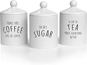 Barnyard Designs Kitchen Canister Set, Airtight Ceramic Canisters with Lid, Decorative Coffee, Sugar, Tea Storage Containers for Kitchen Counter, Rustic Farmhouse Decor, Ivory, Set of 3