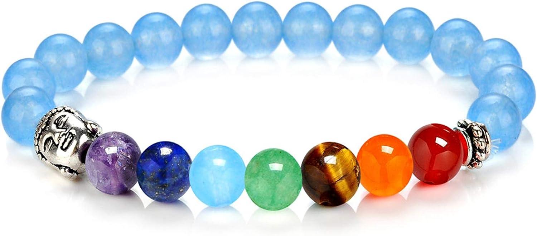 Daesar Pulsera Piedras 7 Chakras 8 MM Pulsera Cuentas Colores con Cabeza de Buda