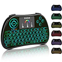 2.4Ghz Mini Wireless Keyboard, 7 Colours Backlit Portable Wireless Handheld Keyboard with Touchpad Mouse and Rechargeable Li ion Battery for PC, PAD, Google Android TV Box, Xbox 360, Smart TV, Raspberry Pi 3, HTPC, IPTV