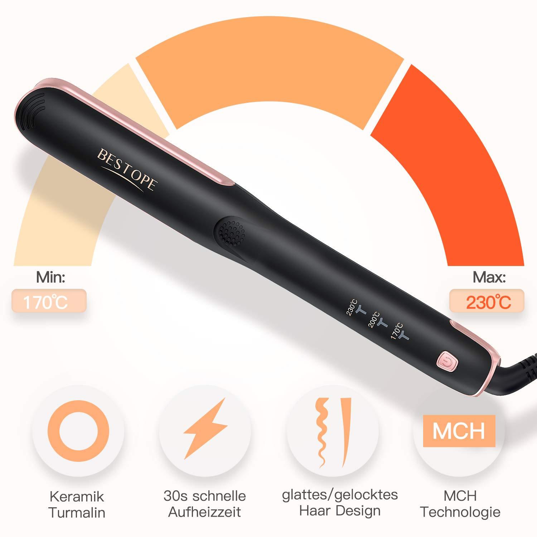 BESTOPE alisador de cabello y rizador 2 en 1 con placa de 25 mm plancha de cerámica para el cabello, 170 °C -230 °C digital, tiempo de calentamiento rápido, ...