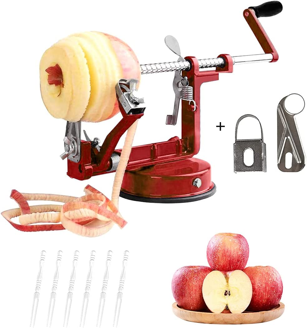 Apple Peeler, 3 in 1 Peeler Slicer Corer with Stainless Steel and Strong Heavy Suction Base for Apple Potato Pear,2 Extra Blades 10 pcs Forks(Red)