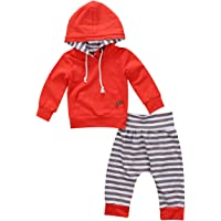 Toddler Baby Girl Boy Lovely Rabbit Ear Stripped Hoodie Sweatshirts + Long Pants Set Unisex Baby Clothes Set