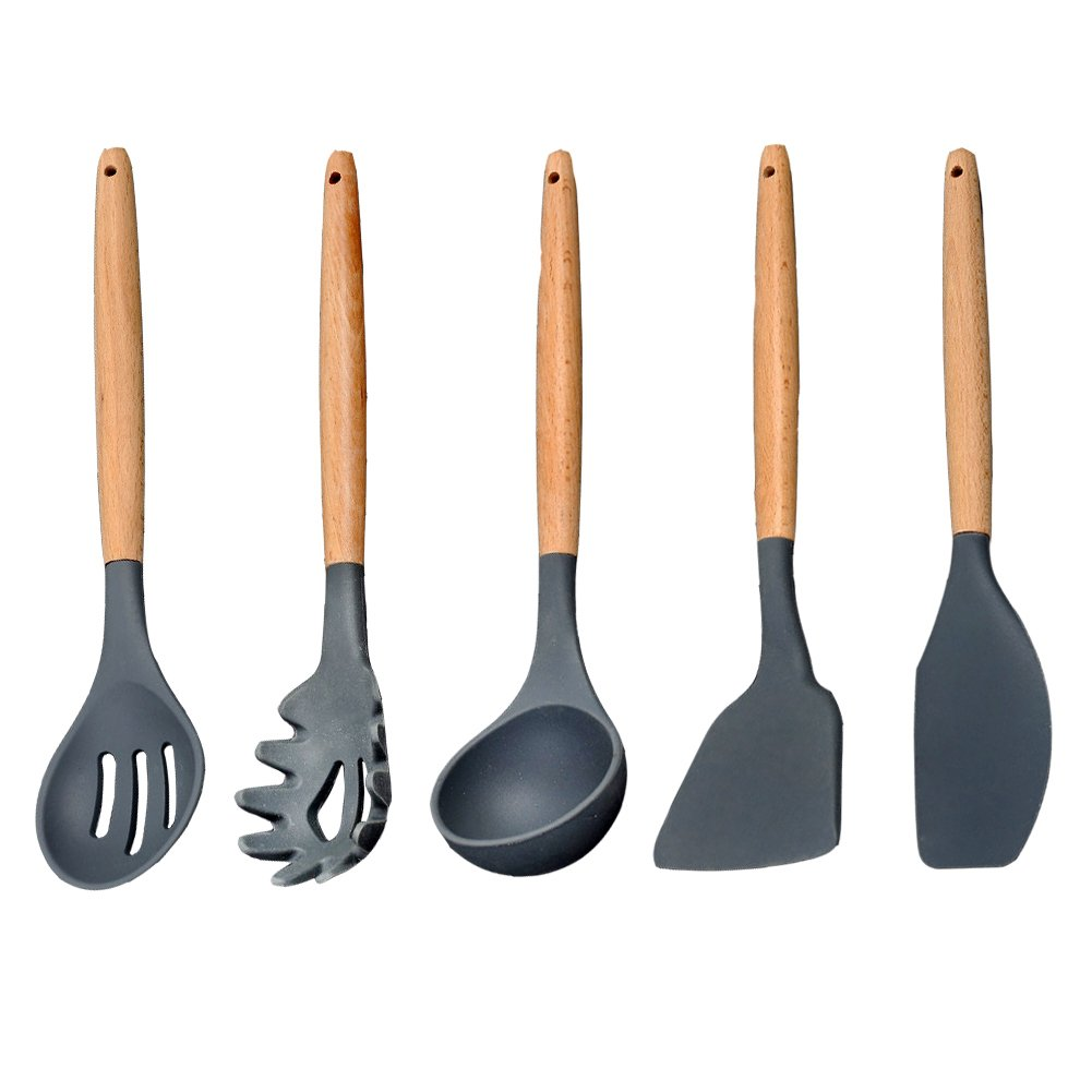 Yummy Sam 5 Piece Cooking Utensil Set, Silicone Cooking and Serving Utensils Set, BPA Free Kitchen Tool and Gadget Set Heat Resistant Non-Stick Baking Gadgets with Wood Handle