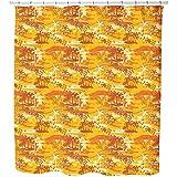 Uneekee Paradise Island Yellow Shower Curtain: Large Waterproof Luxurious Bathroom Design Woven Fabric