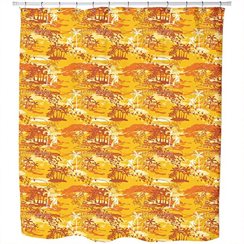 Uneekee Paradise Island Yellow Shower Curtain: Large Waterproof Luxurious Bathroom Design Woven Fabric by uneekee