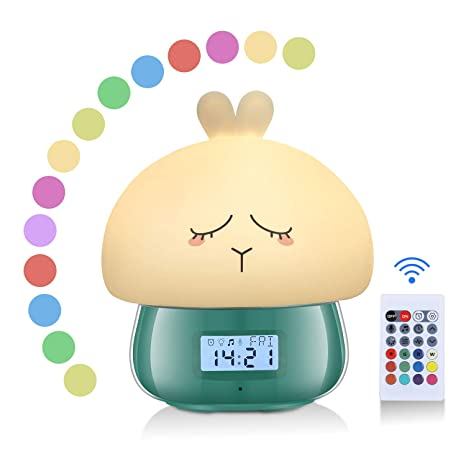 AURSEN Despertador Luz de Disbujo Animado, 7 Colores, 11 Naturales Sonidos,Función de Grabación,Remoto Control Digital Despertador [Clase de ...
