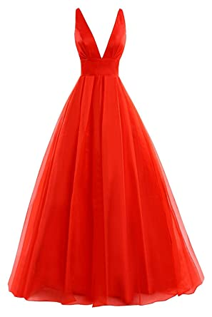 JAEDEN Deep V Neck Tulle Evening Party Dresses Long Prom Gown Open Back Red US 14