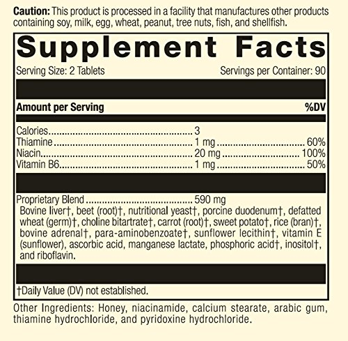 Standard Process - Cataplex B - 20 mg Niacin, Thiamin, Vitamin B6, B-Vitamin Supplement, Supports Metabolic, Cardiovascular, Healthy Cholesterol Levels, and Nervous System - 180 Tablets by Standard Process (Image #3)