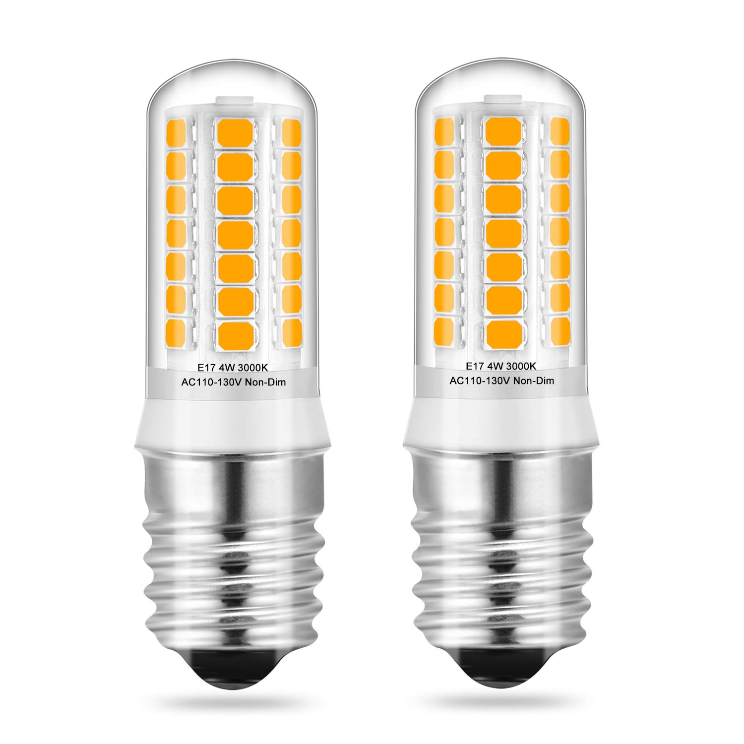 2 x E17 LED Bulbs, for Under Microwave Light Bulbs, Over Stove Lights, Home Lighting, Warm White 3000K, 4W 40W Halogen/Incandescent Bulbs Replacement,AC110-130V Non-dimmable