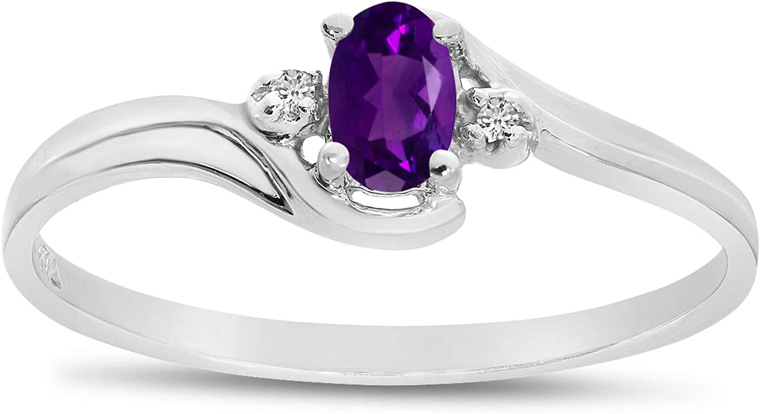 Jewels By Lux 10k White Gold Genuine Birthstone Solitaire Oval Gemstone And Diamond Wedding Engagement Ring