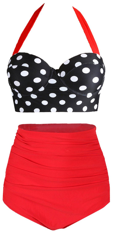 Amourri Womens Retro Vintage Polka Underwire High Waisted Swimsuit Bathing Suits Bikini,Black+red,US 4-6=Tag Size M