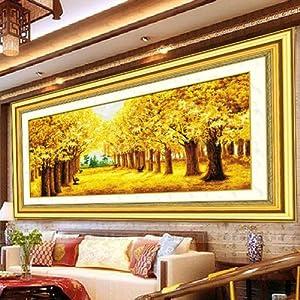 愛度ks100%精準印花十字繡黃金滿地幾乎滿繡1米5大幅客廳大畫最新款