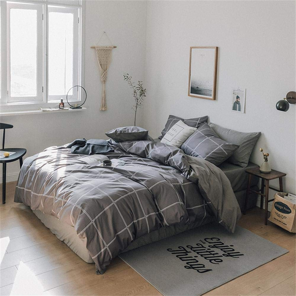 Softta Gray Buffalo Plaid Bedding Set Check Pattern Full Queen 3 pcs 100% Cotton 1 Duvet Cover + 2 Pillowcases Grey Hotel Quality for Teen Boys Girls Men Women