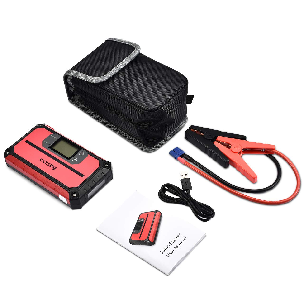 VicTsing Portable Car Jump Starter 1000A Peak 20800mAh (Up to 8.0L Gas, 6.0L Diesel Engine), 12V Auto Battery Booster,5 in 1 Compact Power Pack with QC3.0 Output, Built-in Compass and LED Light by VicTsing (Image #7)