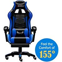 MOOSENG Video Gaming Chair Racing Office-PU Leather High Back Ergonomic 155 Degree Adjustable Swivel Executive Computer Desk Task Large Size with Footrest,Headrest and Lumbar Support, Black/Blue