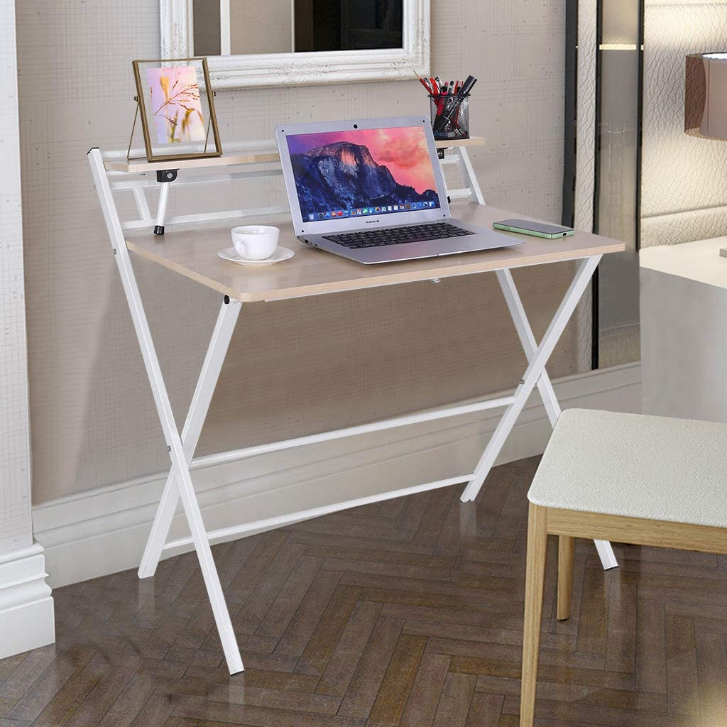 Amazon Com Unine Folding Desk For Small Space 2 Tiers Computer Desk With Shelf Home Corner Table Simple Computer Laptop Desks Office Small Desk With Metal Legs Home Kitchen,Best Home Decor Pinterest Boards