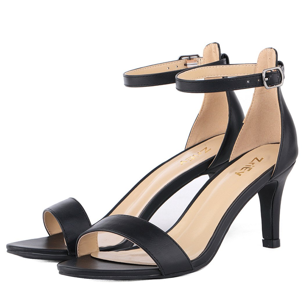 ZriEy Women's Heeled Sandals Ankle Strap High Heels 7CM Open Toe Mid Heel Sandals Bridal Party Shoes Black Size 8 by ZriEy (Image #7)