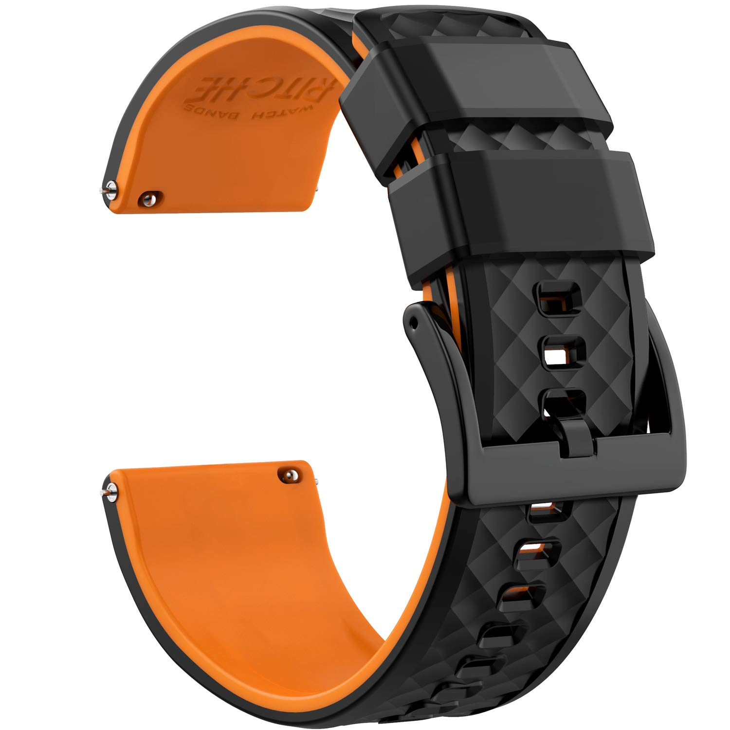 22mm Silicone Watch Bands Compatible with Samsung Gear S3 Frontier Watch Quick Release Rubber Watch Bands for Men by Ritche