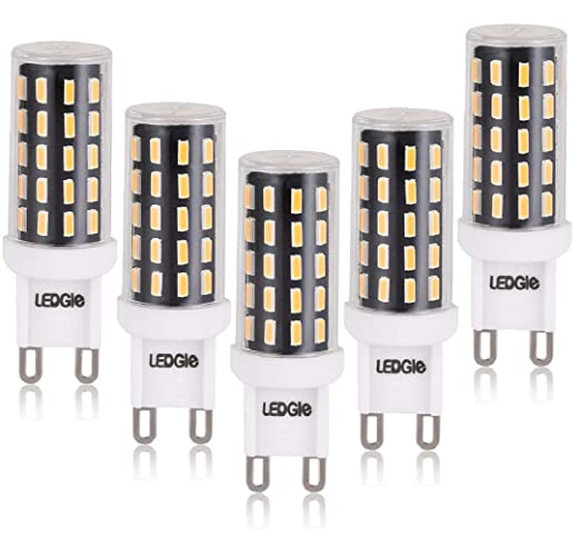 LEDGLE G9 Bombillas LED de 6W No Regulable, 54 Chips LED 420lm Blanco Cálido 2800K