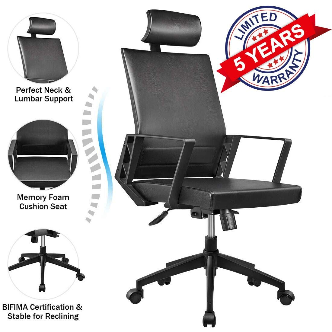 Leather Computer Modern Desk Chair,Lumbar Support Tilt Control High Back Chairs, 360°Swivel Ergonomic Work/study Executive Chair for Office Home with Fixed Arm Adjustable Headrest