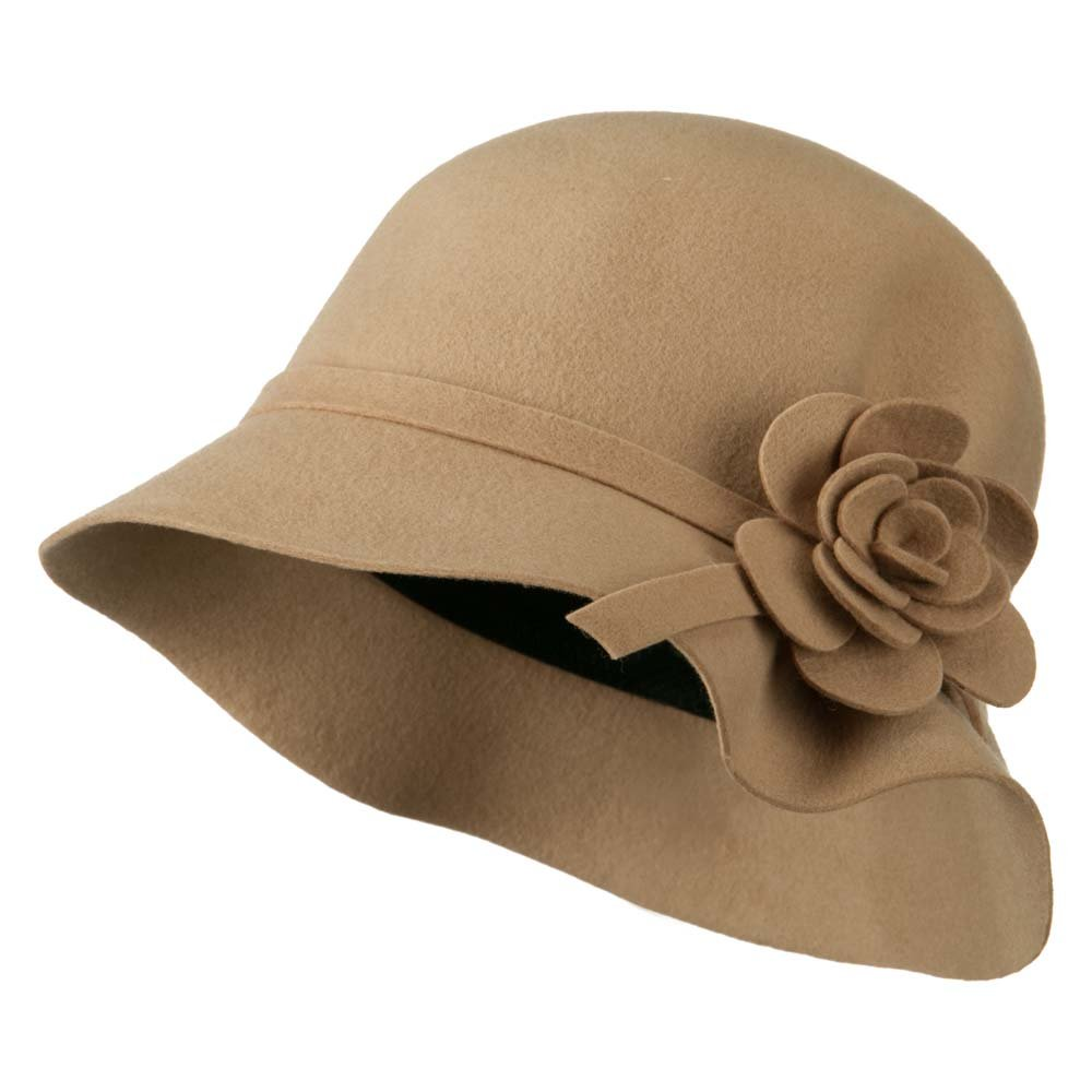 Wool Felt Crushable Hat with Flower - Tan OSFM