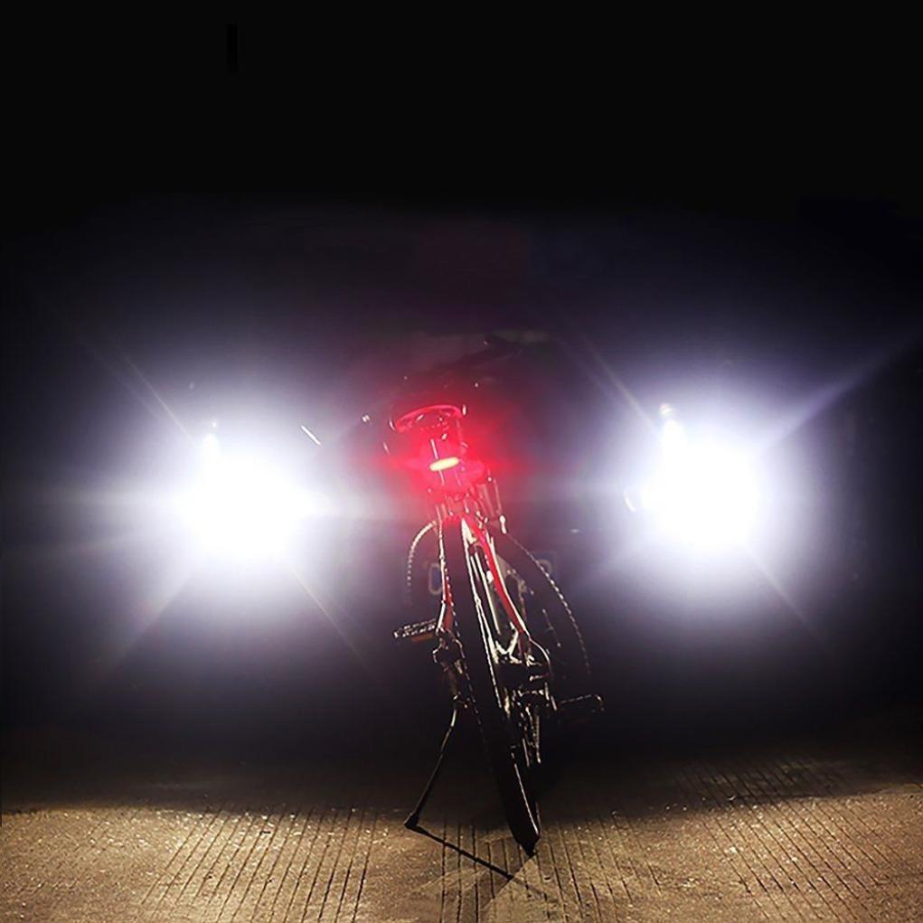 Negro, 87mm*40mm*120mm Koly Luz trasera para bicicleta Luz roja u azul u ambas LED Seguridad en la bicicleta Recargable con USB para LED USB recargable bicicleta trasera cola luz 5 modos linterna