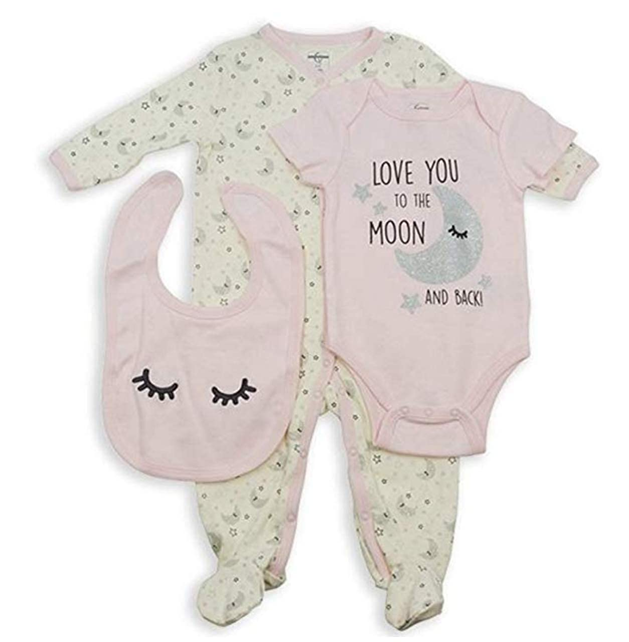 3-6M Quiltex 3-Piece Baby Girl Set Love You to The Moon Overall//Bodysuit//Bib Pink