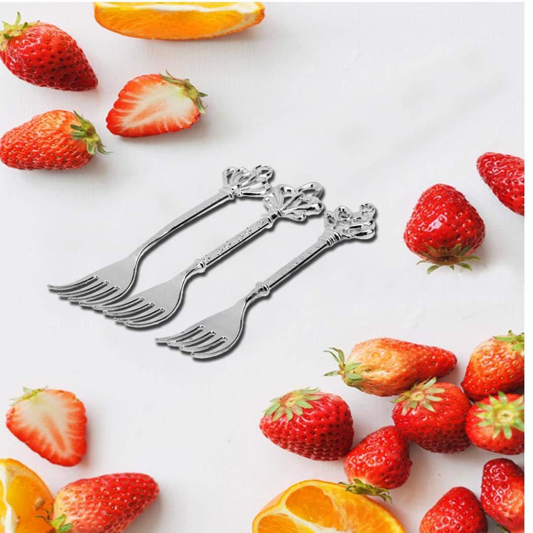 Zonster 3pcs Set Weinlese-k/önigliche Zink-Legierung Crown Kopf Obst Gabeln Kleine Frucht-Zeichen Dessert Geschirr Kuchengabel K/üchenzubeh/ör