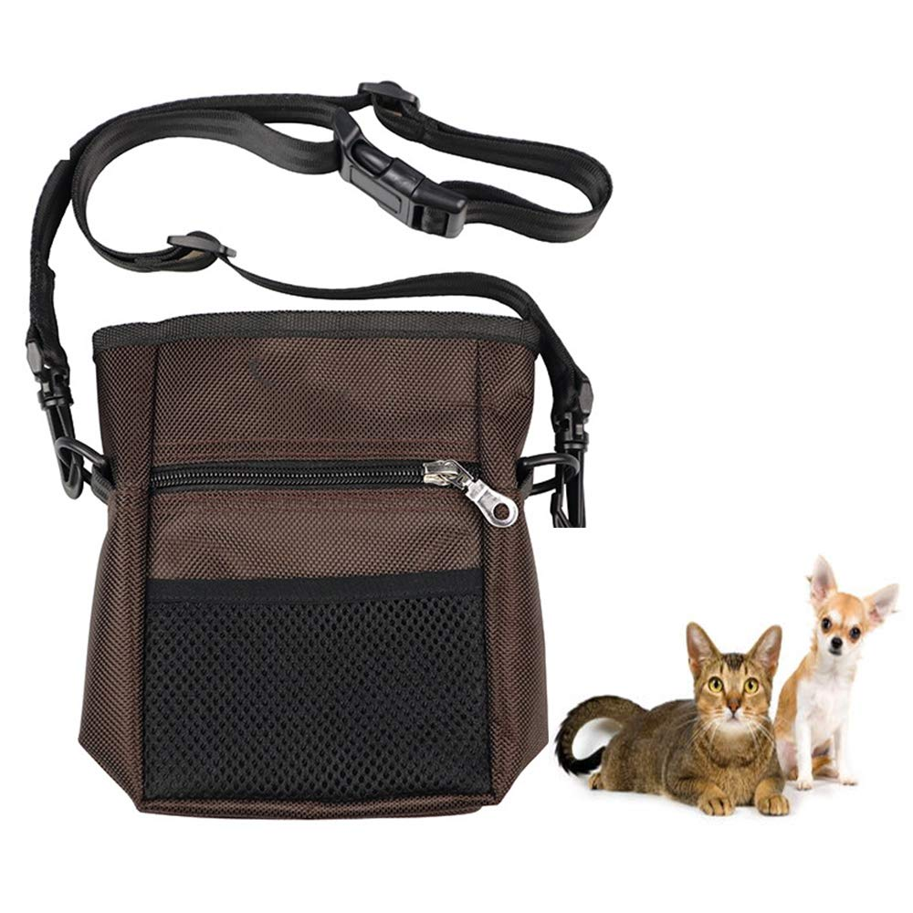 Brown Dog Treat Pouch, Built in Dog Waste Bag Dispenser, Dog Training Pouch Bag with Waist Shoulder Strap, Large Capacity and Functional, Durable and Convenient