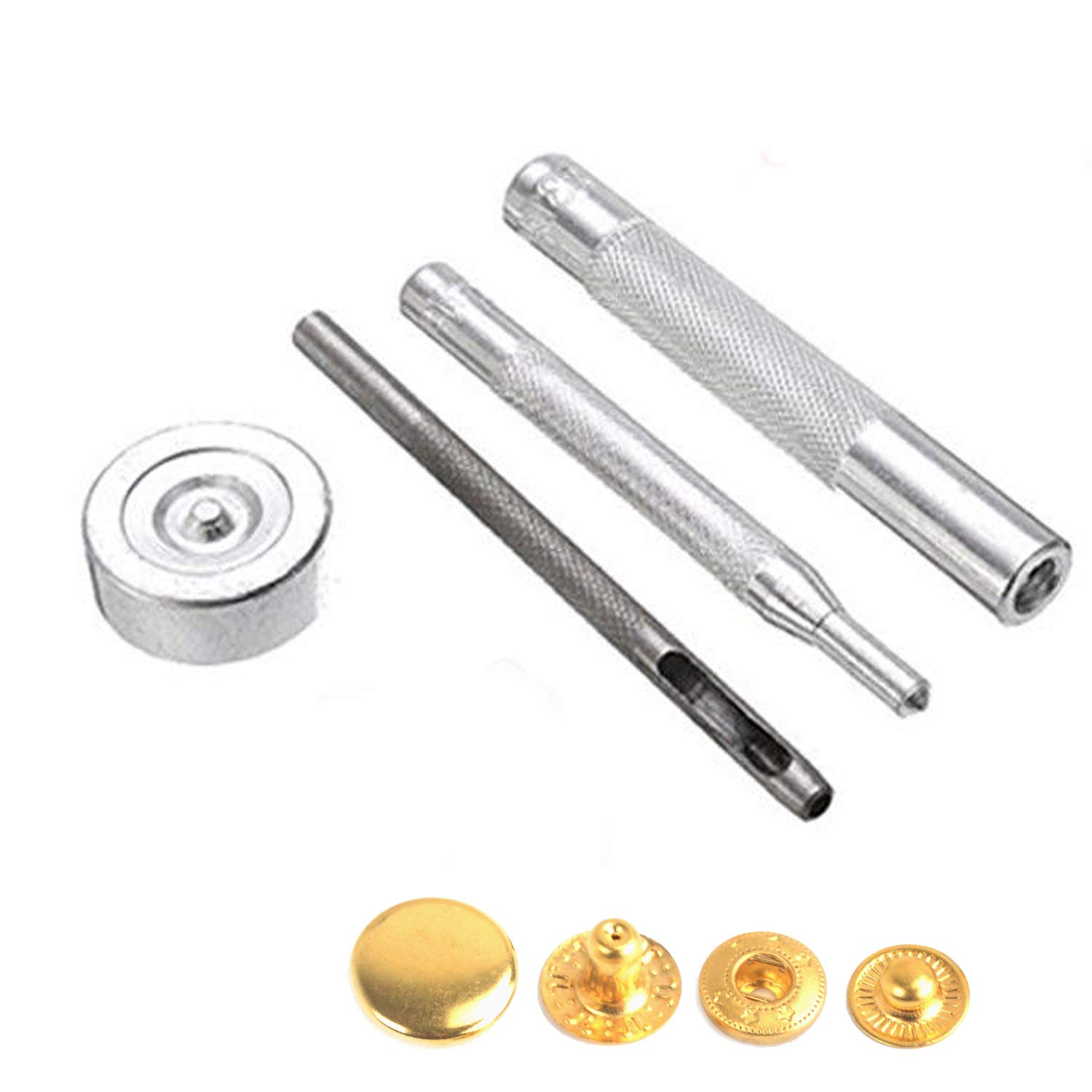 Trimming Shop 12mm 10pcs Gold S Spring Press Stud Snap Fastener Four Parts with Fixing Hand Tools for DIY Arts /& Crafts Projects Leathercrafts