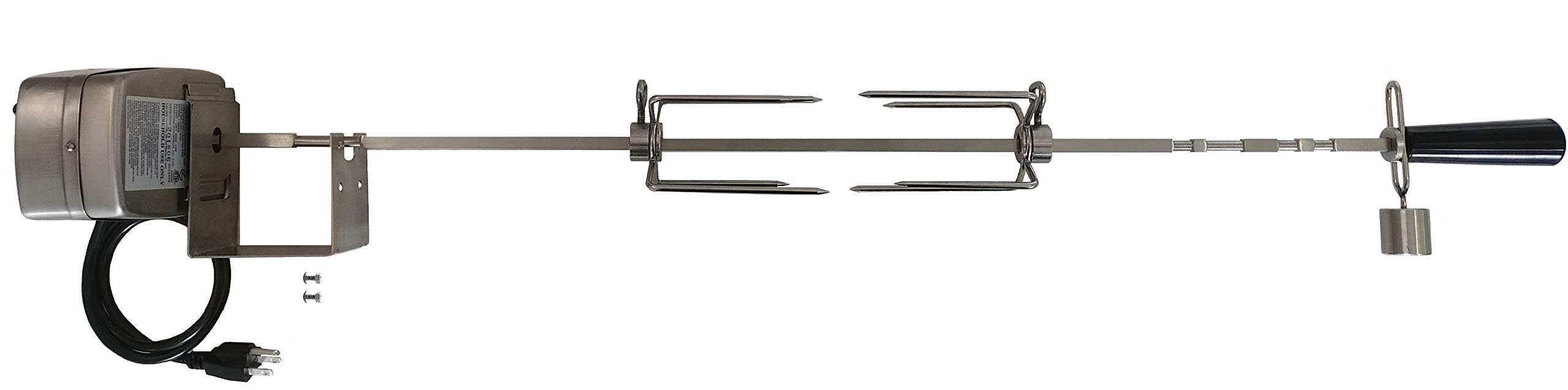 OneGrill Weber Fit Stainless Steel Complete Grill Rotisserie Kit W/ 13 Watt Electric Motor; 3/8 Inch Square Spit Rod (Fits: 300 Series 3 Burner Weber Genesis/Genesis II/Spirit/Spirit II) by OneGrill BBQ Products