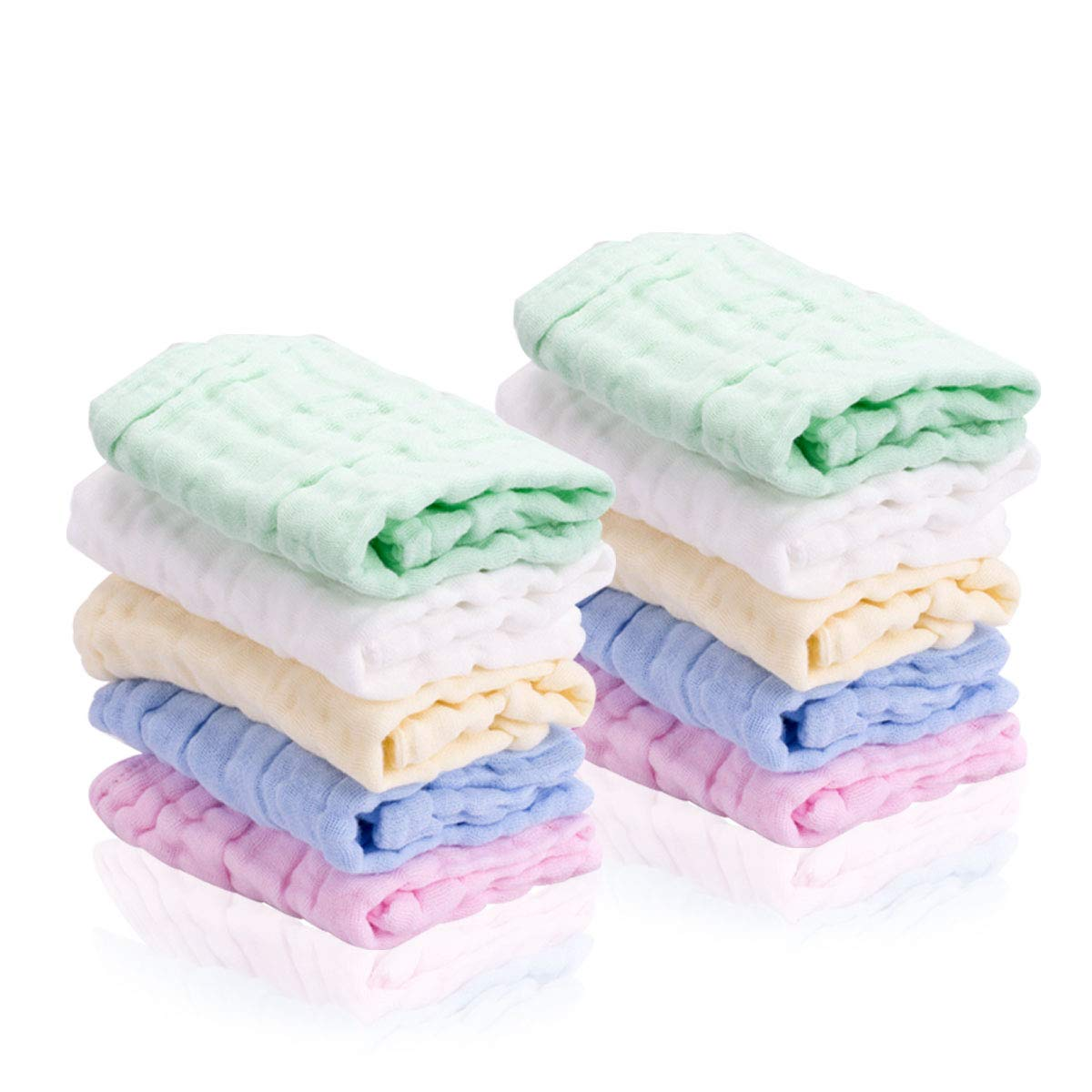 Baby Washcloths 10 Pack - Reusable Baby Muslin Squares Extra Soft Face/Shower Towels for Newborn Baby Girls Boys LIXFDT