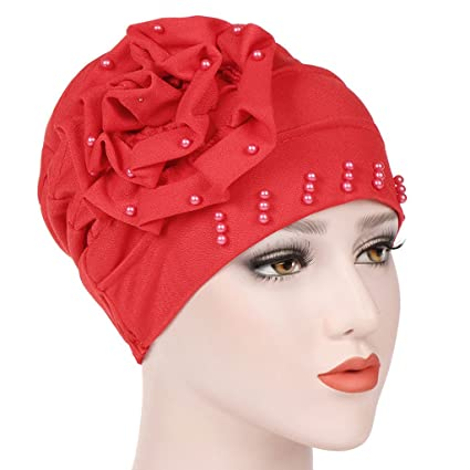 Lamdoo Mujer Beading India Sombrero Musulmán Ruffle Cáncer Chemo Beanie Bufanda Turban Wrap CapRoes Rojo Rojo