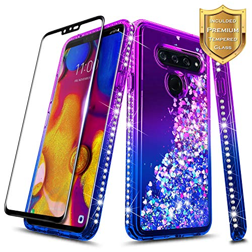 LG V40 ThinQ Case w/[Full Coverage Tempered Glass Screen Protector] NageBee Glitter Liquid Quicksand Waterfall Flowing Sparkle Shiny Bling Diamond Girls Cute Compatible LG V40 ThinQ -Purple/Blue