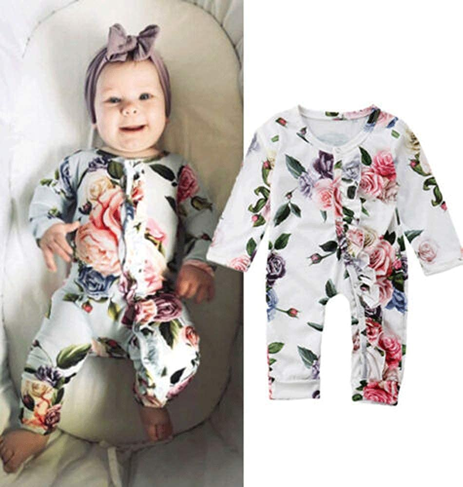 mataorso Baby Girl Floral Print Romper Nightgowns with Headband Sleeper Gown Outfits