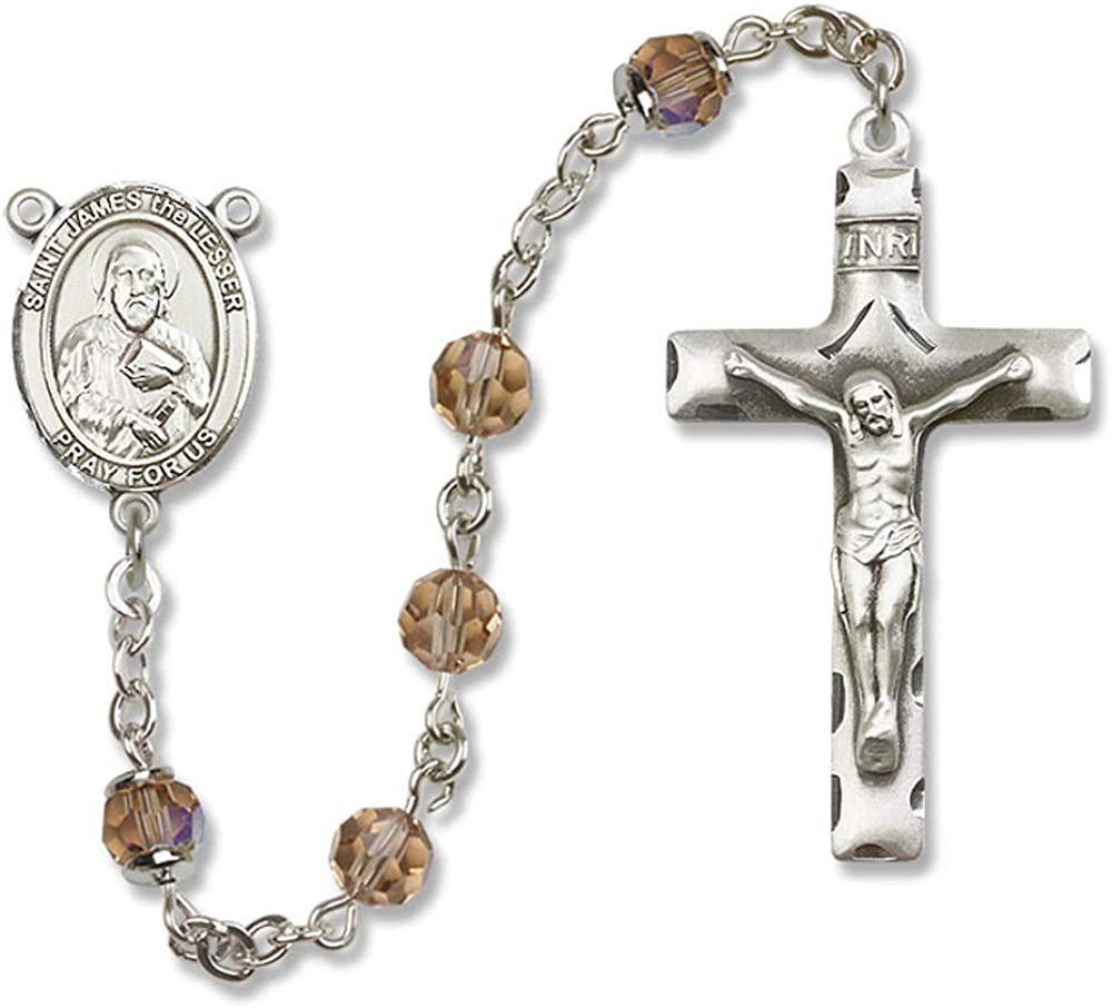 James the Lesser Center Austrian Tin Cut Aurora Borealis Beads St St James the Lesser is the Patron Saint of Pharmacists. 6mm Swarovski All Sterling Silver Rosary with Topaz