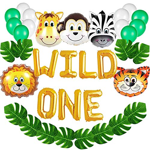 Wild One Birthday Decorations Kit,16 INCH WILD ONE Balloons with 12 PCS Artificial Palm Leaves,Baby Girl Boy 1st Bday Party Supplies With Animal Balloons,Safari Zoo Jungle Themed 1st Bday Decorations.