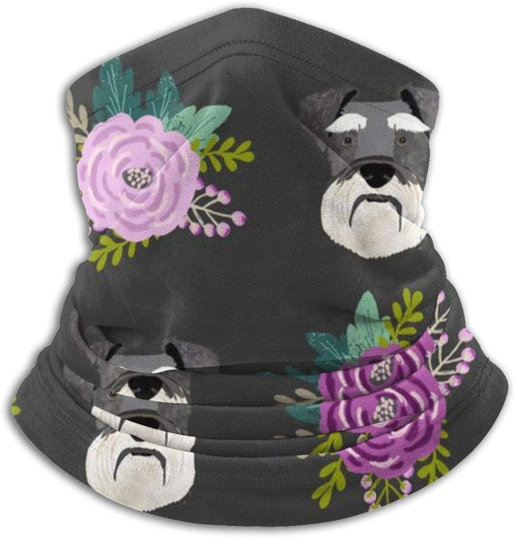 congminbai Schnauzer Dog Florals Head Purple Unisex Winter Fleece Neck Warmer Gaiters Hairband Cold Weather Tube Face Mask Thermal Neck Scarf Outdoor UV Protection Party Cover