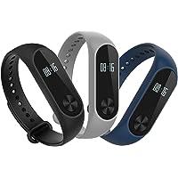 Hianjoo [3-Unidades] Correa para Xiao Mi Band 2 Smart Bracelet, Correa Banda de Deportes Silicona Reemplazo para Xiaomi Mi Band 2 - Negro/Gris/Azul Marino